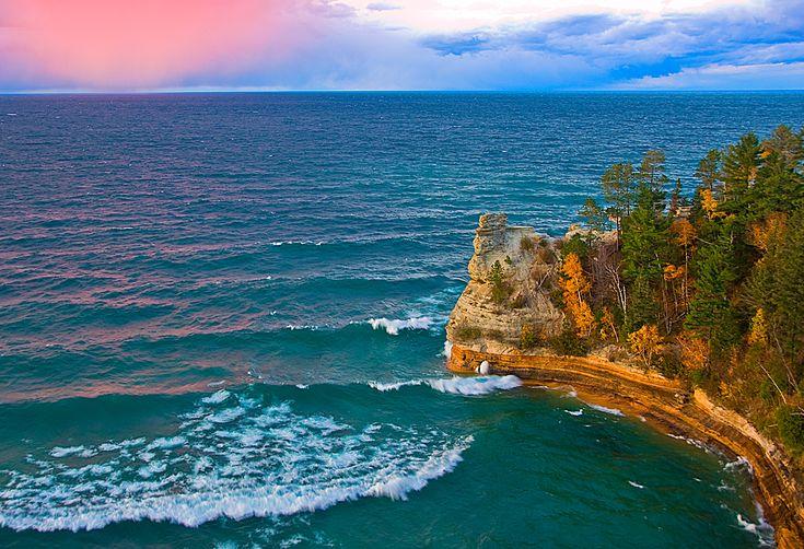 Michigan Fall Colors Wallpaper Pictured Rocks National Lakeshore Lakes Upper Peninsula