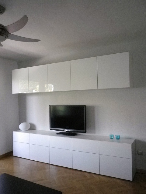 Wall Unit Desk Ikea Besta Cabinets With High Gloss Doors In Living Room