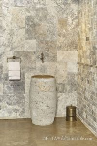 Silver travertine French pattern set tumbled bathroom ...
