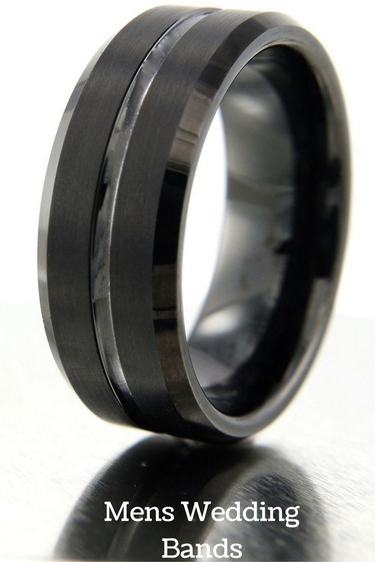 tungsten wedding rings grey tungsten wedding bands 8mm Black Tungsten Wedding Band With Polished Center Channel Satin Top