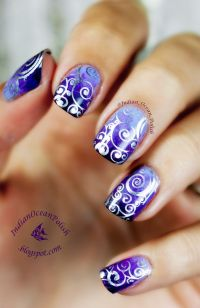 Purple Marbled Gradient with MoYou Suki 07 Stamped Swirls ...