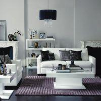 White Leather Sofa . Mauve Purple Lilac Tonal . Black ...