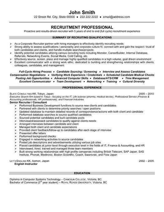 sample resume for human resources recruiter
