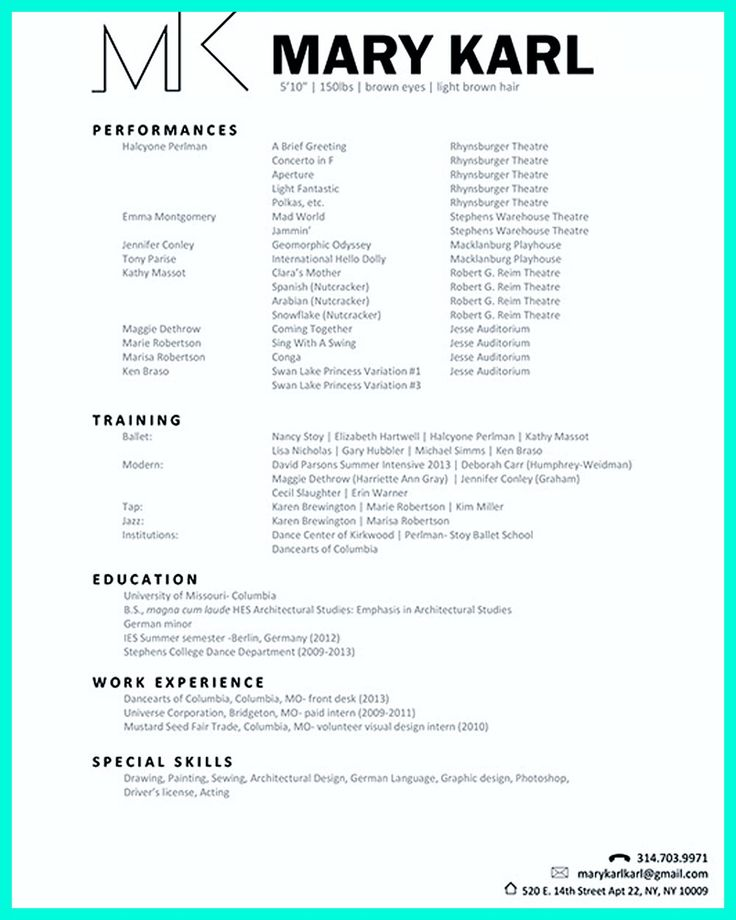 Dance Resume Template Free Dance Resume Can Be Used For Both Novice And Professional