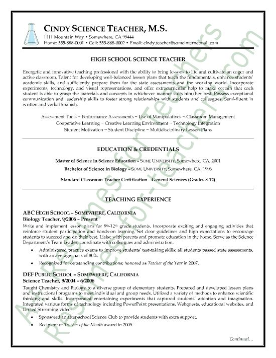 secondary science teacher resume examples