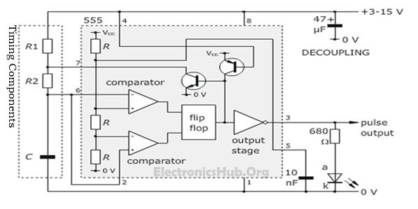 circuit diagram of an astable multivibrator with timer 555