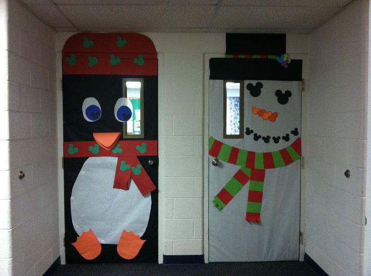 Penguin and snowman classroom door decoration by M Torres