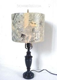 Old lamp shade is covered with newspaper and decoupage ...