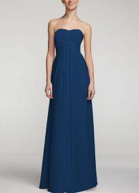 David's Bridal long chiffon dress Style F15555 in Marine ...