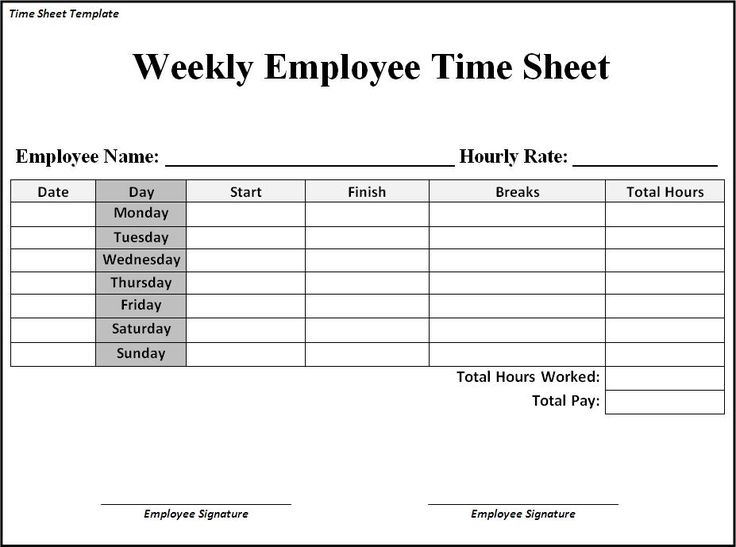 clock in sheets for employees