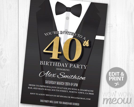 printable 40th birthday invitations