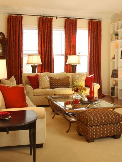 1000+ Ideas About Red Curtains On Pinterest | Family Room