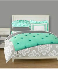 Love these colors. Mint and grey bedding for a teen girl's ...