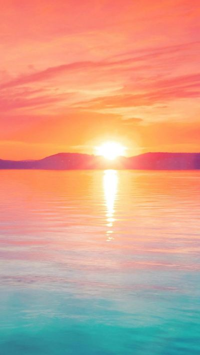 Sunset Night Lake Water Sky Red Flare #iPhone #5s #wallpaper   iPhone 5(s) Wallpapers ...