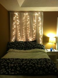 My bed... Curtains with lights above bed instead of ...