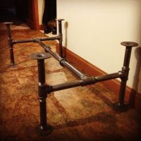 Industrial black steel pipe coffee table base. Top coming ...
