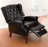 Black Leather Chair Recliner Wing Office Tufted Nailed Arm ...