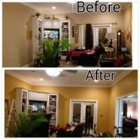 Painted my living room ..Amber Brew is color by Behr ...
