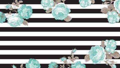 Betsy Black Stripe and Teal Floral Desktop Wallpaper Background | Free Desktop Wallpapers ...