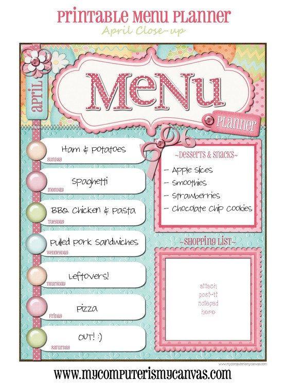 printable weekly dinner menu