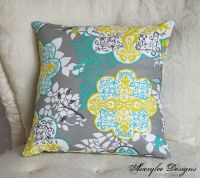 Grey Lace Pillow Cover - Teal, Yellow (Citron), Grey ...