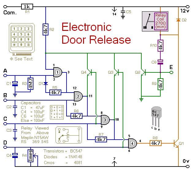 Garage Door Switch Schematics Circuit Diagram For A Keypad Operated Door Release Switch