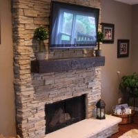 stack stone fireplaces with plasma TV mounted   Home ideas ...