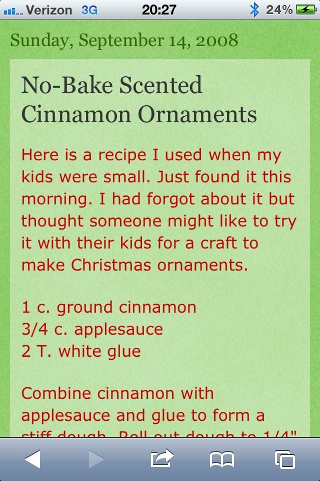 no bake cinnamon applesauce christmas ornaments recipe