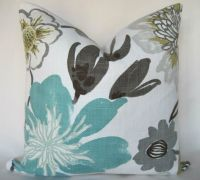 Pillow Cover- Throw Pillow - Gorgeous Pearl- Floral - Aqua ...