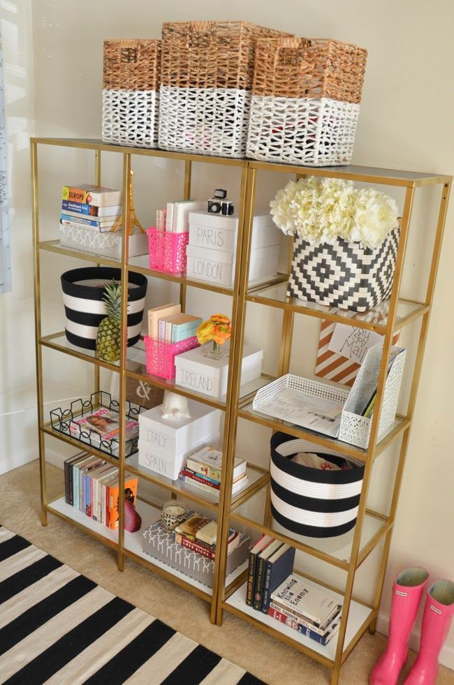 Shelf Dividers Ikea Black Ikea Bookshelves Painted Gold | Diy Decor And