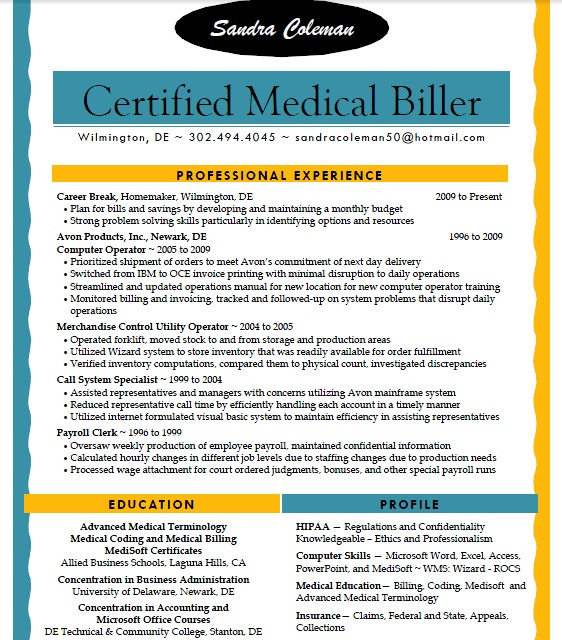 examples of medicalbilling resume