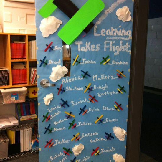 Airplane Themed Classroom Door Decoration