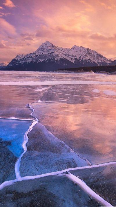 Nature iPhone 6 Plus Wallpapers - Frozen Lake Sunset Lock Screen iPhone 6 Plus HD Wallpaper # ...
