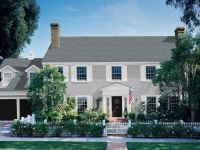 Colonial home - gray siding, white shutters, black door ...