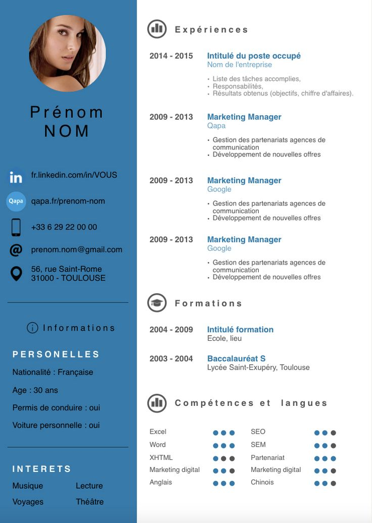 model cv informatique page web