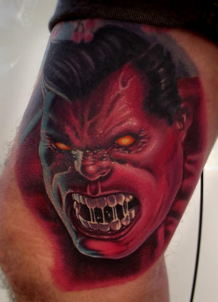 Red hulk tattoo portrait my tattoo works pinterest