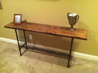 Reclaimed/Distressed wood black iron pipe table | Console ...