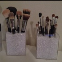 Makeup brush holders with acrylic boxes & vase filler ...