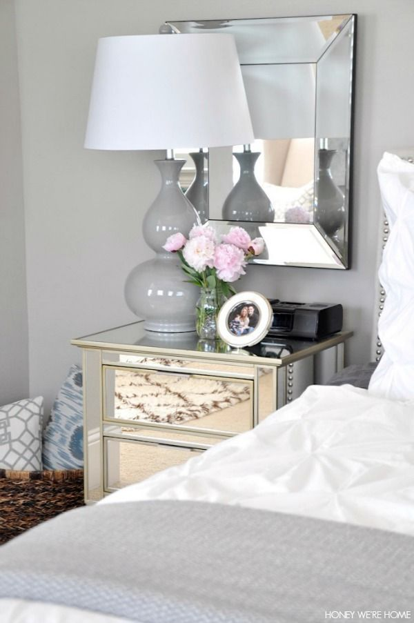 Mirrored Bedside Table Neutral Master Bedroom, White And Gray Bedding Mirrors
