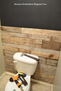 Bathroom Accent Wall- done here in pallett wood. You could ...