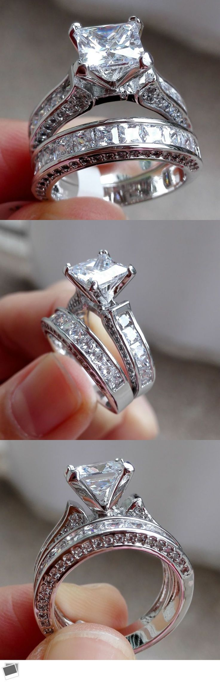 princess cut wedding rings princess cut wedding rings Rings 3 Ct Princess Cut Cz Solid Sterling Silver Wedding Engagement Ring 2