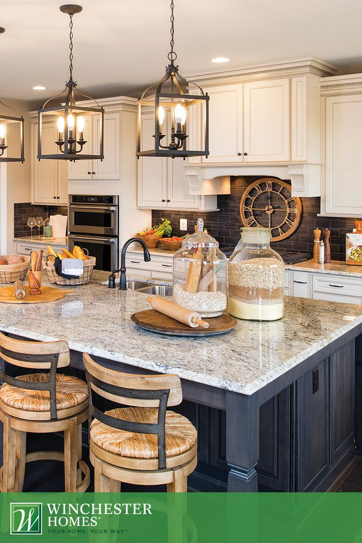 rustic lighting farmhouse kitchen lighting Timeless elegance is the key to the kitchen in the Raleigh model Three chandeliers illuminate Kitchen LampsFarmhouse