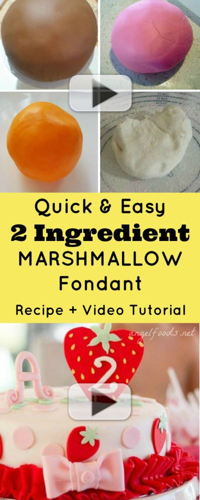 Quick and Easy 2 Ingredient Marshmallow Fondant {Recipe and Video Tutorial} | Cake Recipes ...