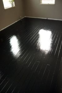 How to paint old wood floors black, think I want to try ...