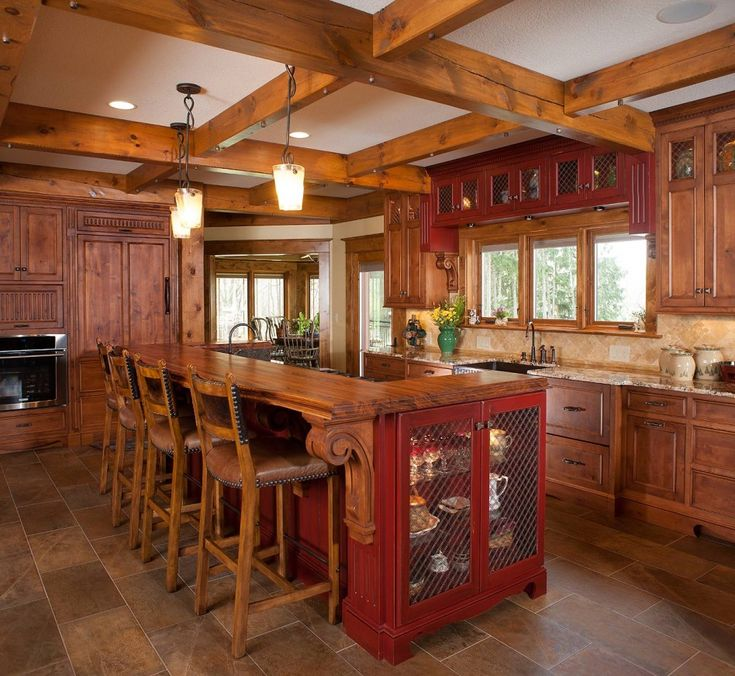 Images Of Rustic Mahogany Cabinets In Kitchens Kitchen, : Stunning Rustic Kitchen Decoration With Bar