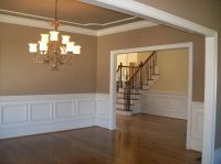 Clean lines; ceiling same color or shade of wall with ...
