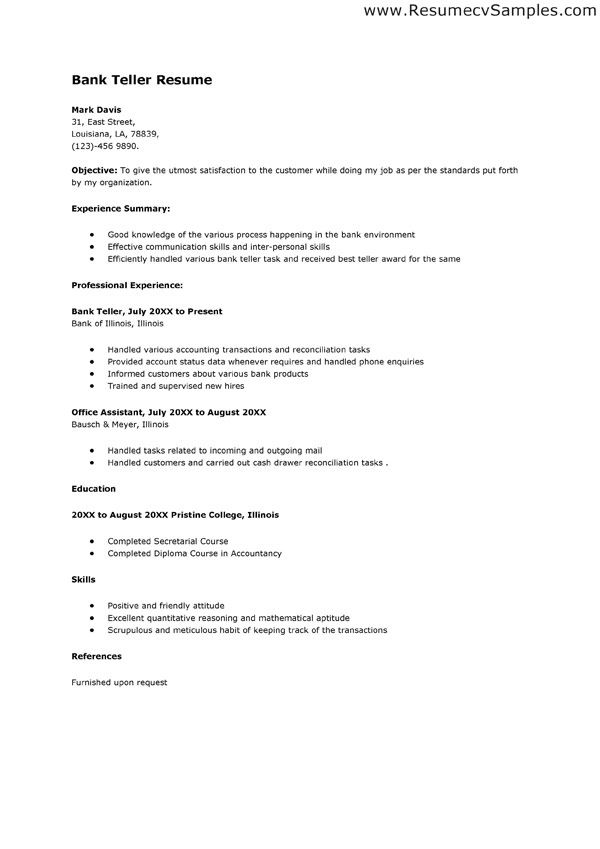 bank teller resume example objectives
