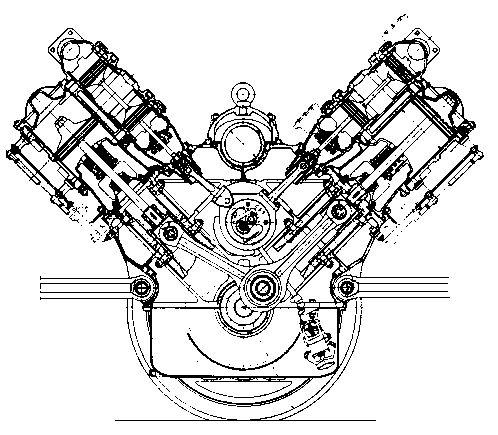 car engine drawing diagram