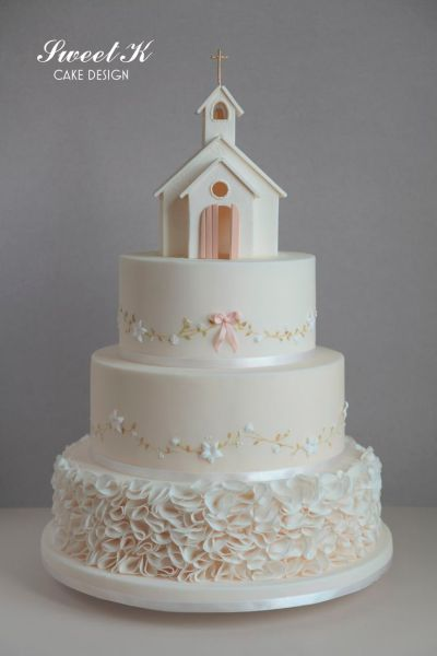 Church Cake Ruffles, painting and pastillage | My cakes ...