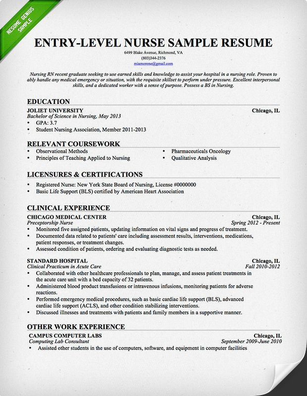 Entry Level Nurse Resume Template Nursing 247